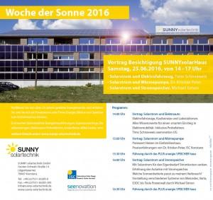 Woche der Sonne 2016 - Solarstrom plus Elektromobilität, Wärmepumpe und Speicher - Vorträge, Führungen und Probefahren